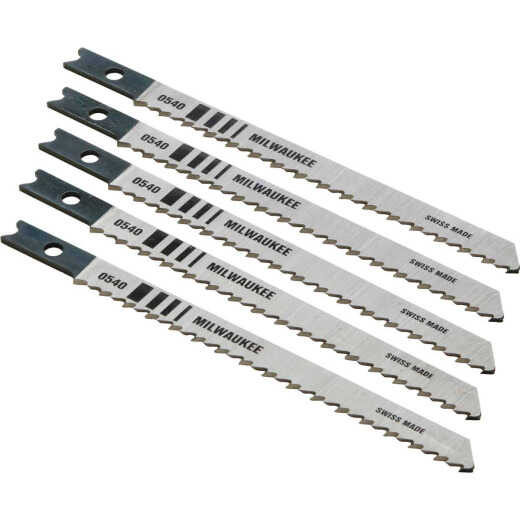 Milwaukee U-Shank 4 In. x 10 TPI High Carbon Steel Jig Saw Blade, Wood Cutting (5-Pack)