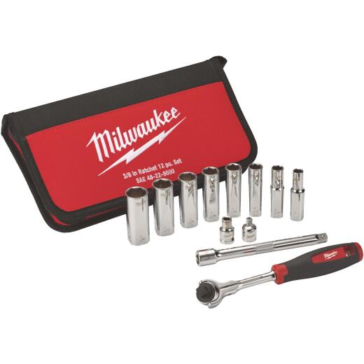 Milwaukee Standard 3/8 In. Drive 6-Point Ratchet & Socket Set