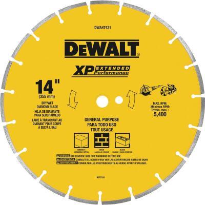 DeWalt Extended Performance 14 In. Segmented Rim Dry/Wet Cut Diamond Blade